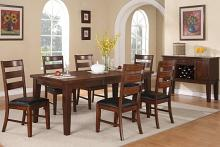 7 pc antique walnut finish wood dining table set with leaf