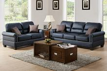 2 pc collette collection black bonded leather upholstered sofa and love seat set with nail head trim and rounded arms