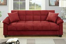 Poundex F7890 AJ homes studio lakeview winston porter kasen red microfiber fabric adjustable storage sofa futon