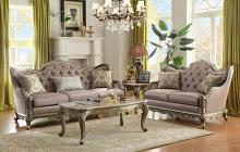 Homelegance 8412-SL 2 pc florentina dusky taupe faux silk fabric sofa and love seat set with wood trim