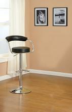 Poundex F1559 Set of 2 kossini contemporary style black faux leather curved chrome back adjustable swivel bar stool