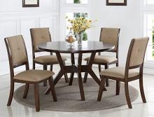 "2322T-48 5 pc Barney espresso finish wood round 48"" dining table set"