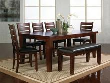 Crown Mark 2152T-4282-7PC 7 pc bardstown dark wood finish dining table set with vinyl upholstered chairs