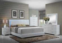 5 pc felicity iii collection contemporary style glossy white and chrome finish wood queen bedroom set with led paneled headboard
