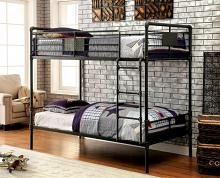 Furniture of america CM-BK913 Olga i  collection antique black finish metal frame industrial inspired style twin over twin bunk bed set