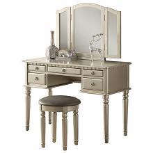 Poundex F4079 3 pc silver finish wood make up bedroom vanity set with curved legs stool and tri fold mirror with multiple drawers