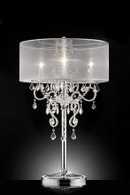 L9720T Silver chrome finish metal and glass crystal table lamp with collapsible sheer shade