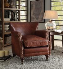 Acme 96679 Leeds vintage dark brown top grain leather accent chair