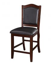 Poundex F1346 Set of 2 dark espresso finish wood and black faux leather counter height bar chairs