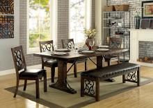 6 pc paulina collection transitional style rustic walnut finish wood dining table set