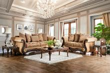SM6407 2 pc nicanor gold & bronze fabric sofa and love seat set with wood trim
