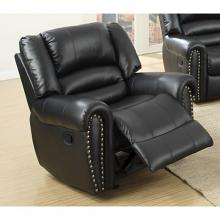 Poundex F6751 Collette black bonded leather standard motion reclining recliner chair with overstuffed arms