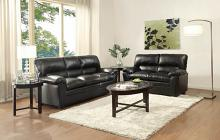 2 pc talon collection black bonded leather upholstered sofa and love seat set with overstuffed arms