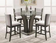 """Crown mark CM1710T-GY-54 5 pc 5 pc Camelia grey finish wood base and 54"""" round glass top counter height dining table set with grey chairs"""