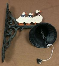 Cast iron multi colored 3 ducks w/bell wall hanger