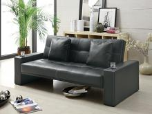 300125 Silia black finish leatherette contemporary style futon sofa set with cup holders