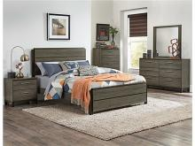 5 pc Vestavia collection grey finish wood mid century modern style bedroom set