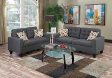 Poundex F6901 2 pc collette blue grey faux linen fabric sofa and love seat set