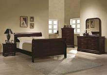 Coaster 203971Q 5 pc  louis philippe rich cherry wood finish queen sleigh panel bedroom set