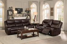 2 pc Bastrop collection contemporary style brown leather gel match motion sofa and love seat set
