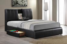 Kofi black leather like vinyl modern style queen bed frame set with built in center tray on headboard