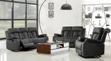 Global United 9760GR-2PC 2 pc Parsons II gray bella fabric sofa and love seat with recliner ends