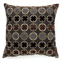 "PL6015S Set of 2 targe brown colored fabric 18"" x 18"" throw pillows"