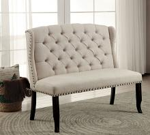 CM3324BK-BN Sania III beige linen like fabric antique black finish wood dining entry bedroom 2 seater bench