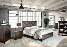 5 pc Bianca collection dark walnut finish wood w/ plank style look queen bedroom set