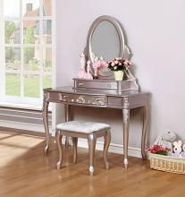 400896-97-98 3 pc Wildon home caroline metallic lilac finish wood bedroom make up vanity sitting table set with mirror