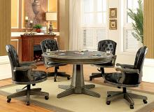 5 pc yelena collection gray finish wood contemporary style round poker game / dining table set