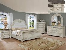 5 pc Yorkshire collection antyique white finish wood headboard bedroom set with marble tops