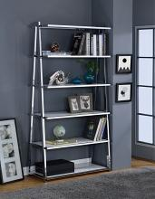 Acme 92455 Coleen white high gloss wood chrome metal 6 tier book case shelf unit