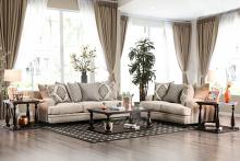 Furniture of america SM3074 2 pc Pauline light brown chenille fabric sofa and love seat set