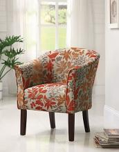 Dark finish wood frame barrel shaped accent side chair with autumn leaves upholstery