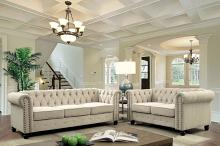 CM6342IV 2 pc Winifred ivory chenile fabric sofa and love seat set with tufted backs