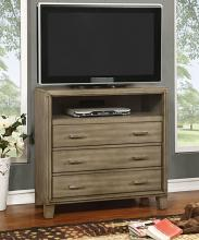 CM7068GY-TV Enrico contemporary style silver gray finish wood tv console media chest