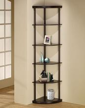 "800279 6 tiered pie shaped corner shelf unit in an espresso finish wood .  measures 16"" x 16"" x 72""h."