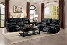 2 pc Bastrop collection contemporary style black leather gel match motion sofa and love seat set