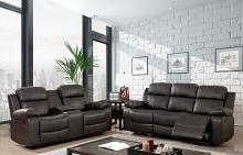 CM6568 2 pc Pondera brown breathable leatherette sofa and love seat with recliner end