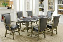 Furniture of america CM-GM367GY 7 pc melina collection gray finish wood contemporary style oval poker game/ dining table set