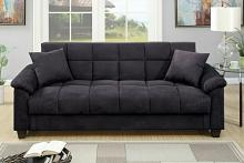 Poundex F7888 Jasmine collection ebony microfiber fabric upholstered adjustable storage sofa futon