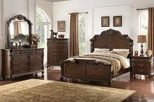 Poundex F9385-4926-27-28-29 5 pc Palisades II collection dark brown finish wood with carved headboard queen bedroom set