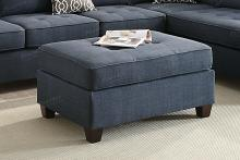 Jackson collection dark blue dorris fabric upholstered ottoman