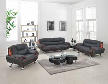 Global United 405BK-2PC 2 pc Shirley II modern style black genuine leather sofa and love seat set