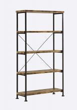 801542 Barritt collection antique nutmeg finish wood with black metal frame 5 tier shelf
