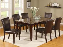 Crown Mark 2221T 7 pc Ferrara brown wood finish faux marble top dining table set