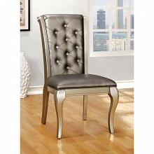 Set of 2 amina collection contemporary style silver finish wood side chair