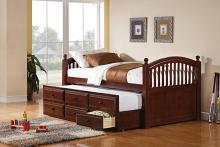 Country living style chestnut finish wood twin day bed with slide out trundle