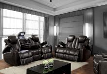 CM6291 2 pc Zaurak dark grey breathable leatherette power motion sofa and love seat with recliner ends